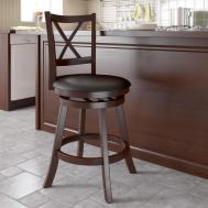 Furniture Oak Kitchen Bar Stools Backs Leather Cream