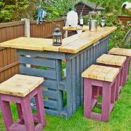 Garden Bar Made Reclaimed Timber Discarded