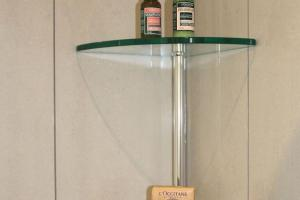 Glass Floating Corner Wall Mount Shelf Design Bathroom