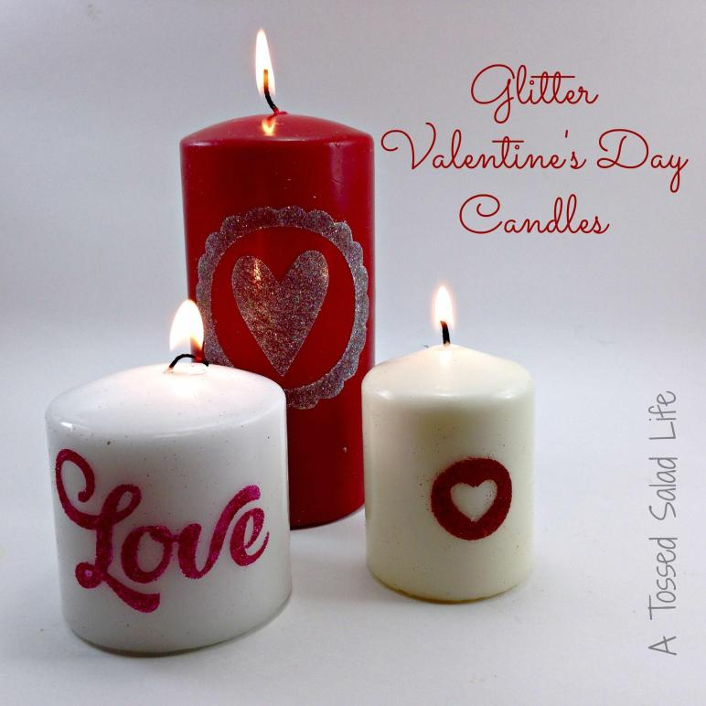 Glitter Valentine Day Candles Mom Made