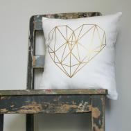 Gold Geometric Heart Cushion Cover Felt