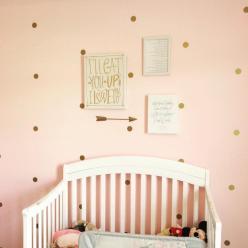 Gold Polka Dot Wall Decal Nursery Decor Bedroom Decals