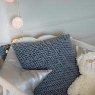 Grey Knitted Decorative Pillow Handmade Classic