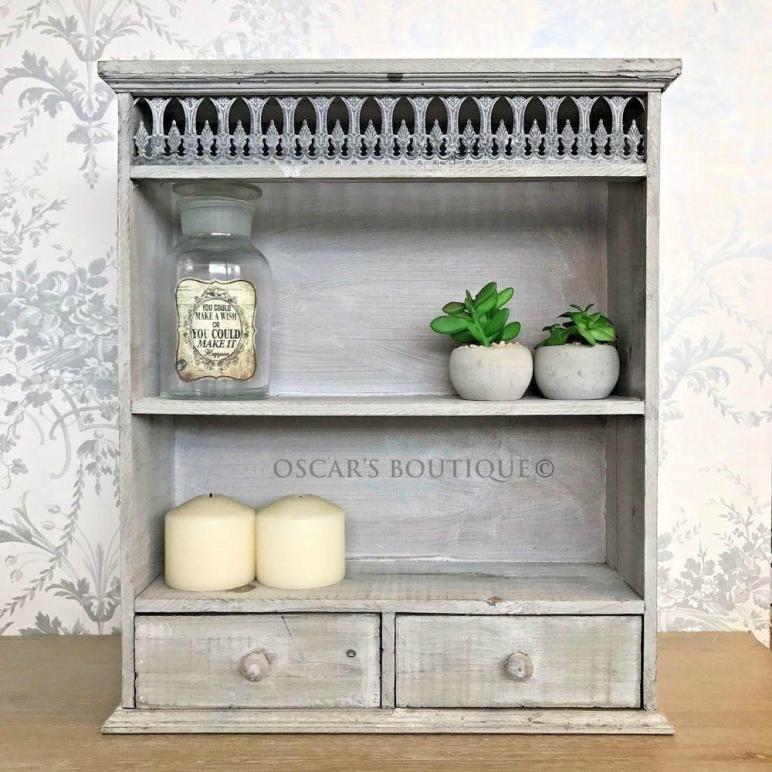 Grey Shabby Chic Wall Unit Shelf Display Storage Cabinet