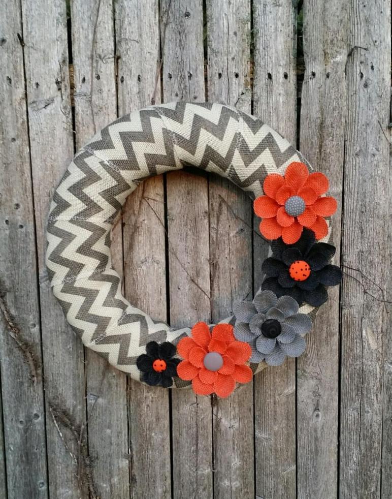 Halloween Wreath Burlap Chevron