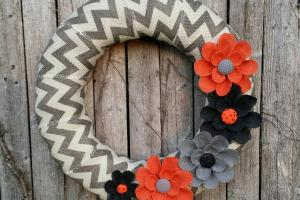 Halloween Wreath Burlap Chevron