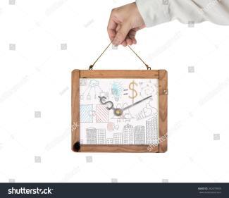 Hand Holding Whiteboard Dollar Sign Clock Business