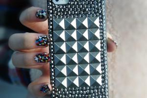 Handmade Diy Punk Style Square Rivet Iphone Case