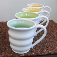 Handmade Pottery Mugs Spring Colors Set Four Large