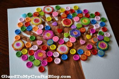 Handprint Button Tree Kid Craft Glued Crafts