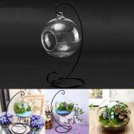 Hanging Glass Ball Vase Flower Plant Pot Stand Terrarium