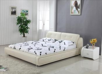 High Back Cream Top Grain Leather Soft Bed King