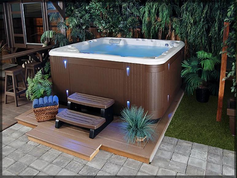 Home Design Ideas Cool Backyard Hot Tub Designs