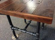 Industrial Square End Table Reclaimed Wood Black Pipe