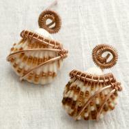 Isuize Seashell Earrings Wire Wrapped Copper 276