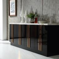 Italian Design Black Modern Buffet Cabinet Marble