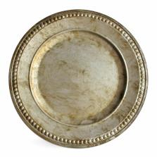 Jay Companies Round Beaded Silver Acrylic Charger
