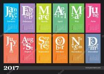 Jazzy Creative Calendar 2017 Stock Vector