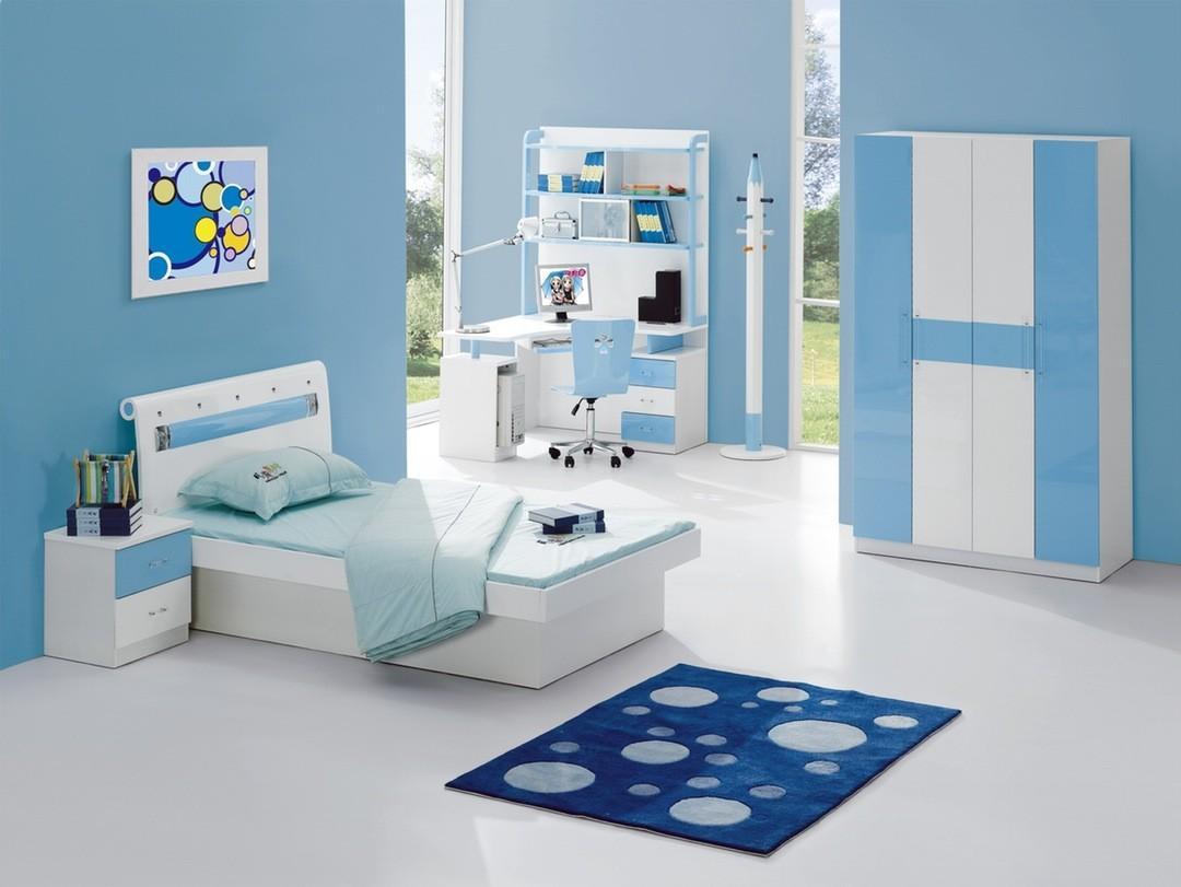 Kids Room Light Blue Color Scheme Wall Paint Ideas Bedroom ...