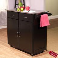 Kitchen Island Cart Stainless Steel Storage Wood Cabinet