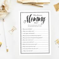 Knows Mommy Best Black White Baby Shower Game Simple