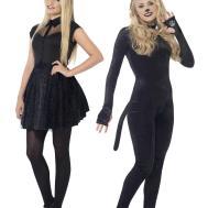 Ladies Cat Glitter Witch Costume Adult Halloween Fancy
