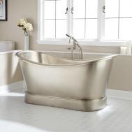 Larimore Nickel Plated Copper Double Slipper Tub