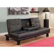 Leather Fold Out Sofa Couch Convertible Futon Sleeper
