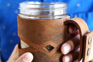 Leather Mason Jar Sleeve Make