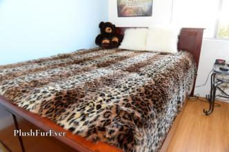 Leopard Stripes Faux Fur Bedspread Coverlets Brown Luxury
