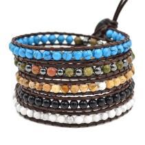 Lily Leather Bracelet Diy Agate Bead Womens Fashion Wrap