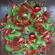 Lime Green Red Deco Mesh Christmas Wreath Decoglitz