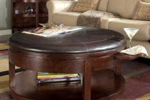 Living Room Leather Ottoman Coffee Table