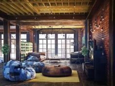 Loft Living Room Design Modern Industrial Style