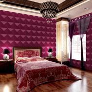Luxury Bedroom Decoration Feature Purple Geometric Wall