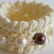 Make Crocheted Bracelet Pearl Beads Diy