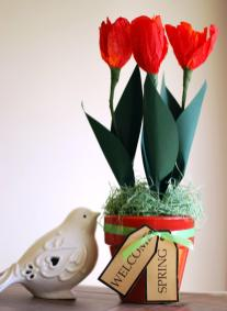 Make Paper Tulip Spring Floral Arrangement