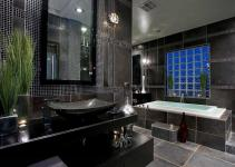 Master Bathroom Tile Designs Black Color Home