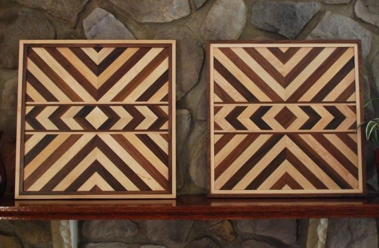 Matching Aztec Wood Art Native American Geometric Design