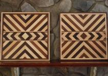 Matching Aztec Wood Art Native American Geometric Design