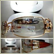 Men Classic Vintage Retro Style Sun Glasses Gold Frame