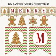 Merry Christmas Banner Printable Gingerbread Red
