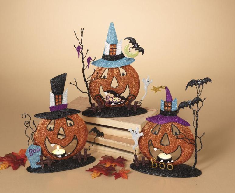 Metal Glitter Pumpkin Candle Holder Fall Halloween