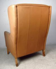 Mid Century Modern Tufted Leather Wingback Lounge Chair