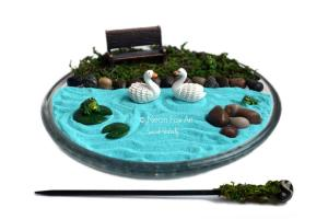 Mini Zen Garden Miniature Pond Desk Accessory Diy