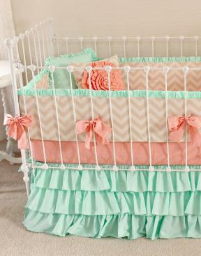 Mint Peach Baby Bedding Girl Crib