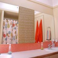 Moddotz Penny Round Tile Sherbet Orange Bathroom