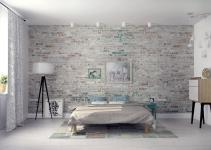 Modern Bedroom Design Exposed Gray Brick Wall Ideas