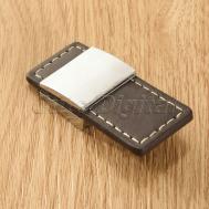 Modern Brown Leather Zinc Alloy Drawer Door Knob Cupboard