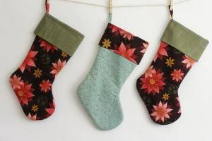 Modern Christmas Stocking Poinsettia Bluestitchhandmade